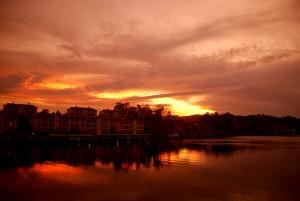 Condos Along Lake Hamilton Sunset