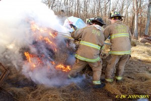 Team Effort At Stoking Fire