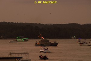 00G Sunset Fireboat Goes Out Into Harbor