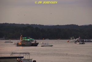 00J Sunset Fireboat Goes Out Into Harbor