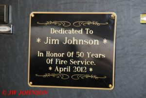 Dedication Plaque on Truck 854